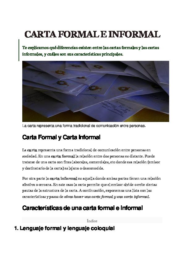 Doc Carta Formal E Informal Características De Una Carta