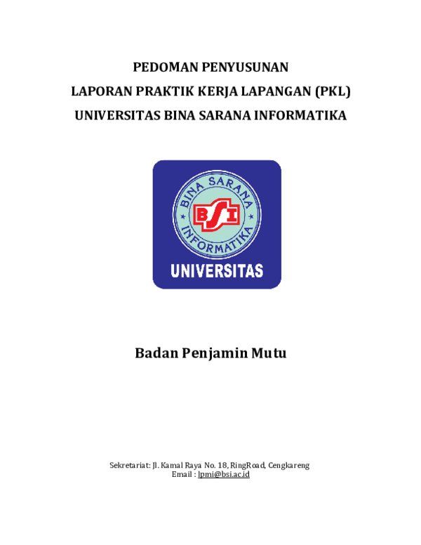 Pdf Pedoman Penyusunan Laporan Praktik Kerja Lapangan Pkl Universitas Bina Sarana Informatika Rizky Riyanto Academia Edu