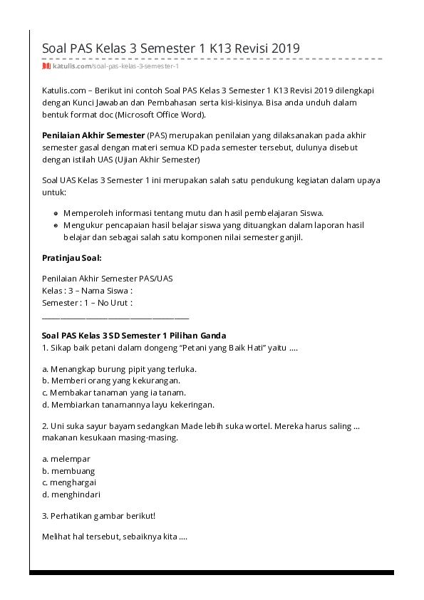 Pdf Soal Pas Kelas 3 Semester 1 K13 Revisi 2019 Katulis Bekti Nagari Academia Edu