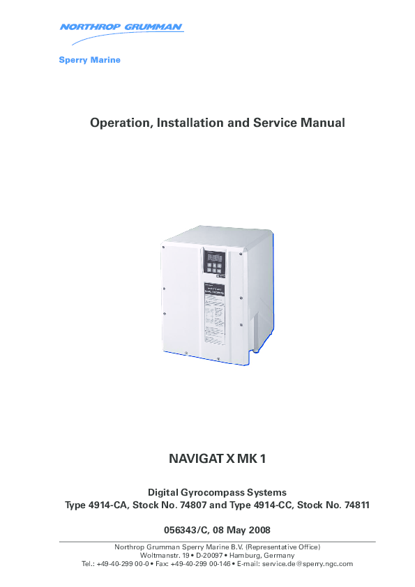 PDF) Operation, Installation and Service Manual NAVIGAT X MK 1   Pham Duc  Toan - Academia.edu   Sperry Marine Wiring Diagram      Academia.edu