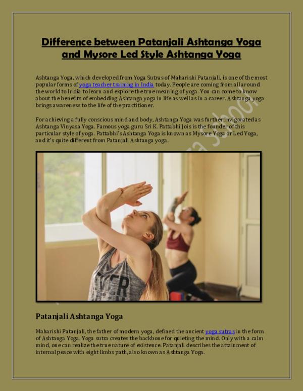 Pdf Difference Between Patanjali Ashtanga Yoga And Mysore Led Style Ashtanga Yoga Rishikesh Vinyasa Yoga School Academia Edu