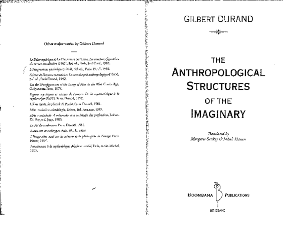 Pdf Gilbert Durand The Anthropological Structures Of The
