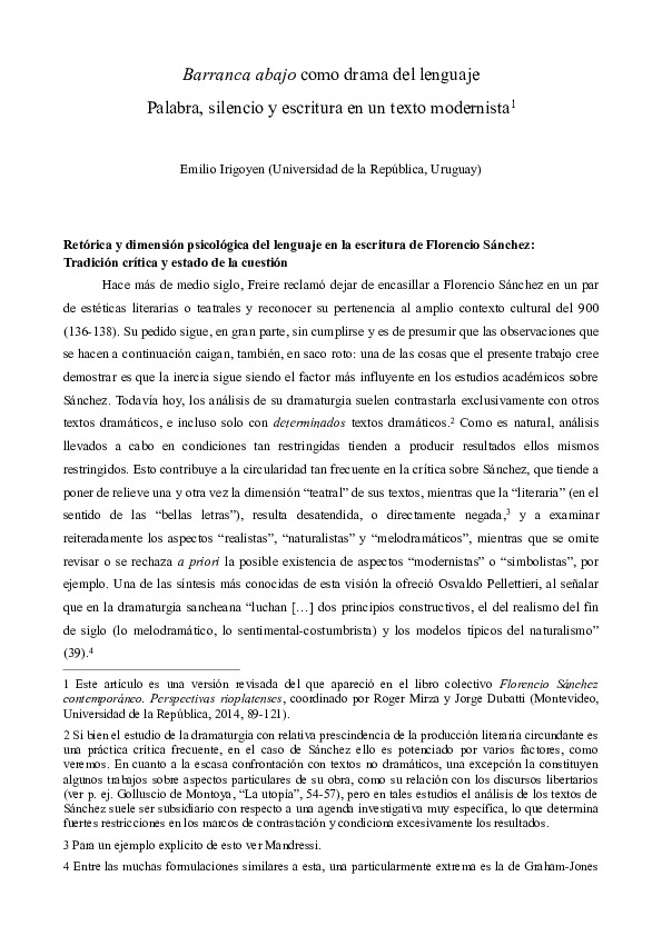 Pdf Barranca Abajo Como Drama Del Lenguaje Palabra Silencio Y Escritura En Un Texto Modernista Emilio Irigoyen Academia Edu