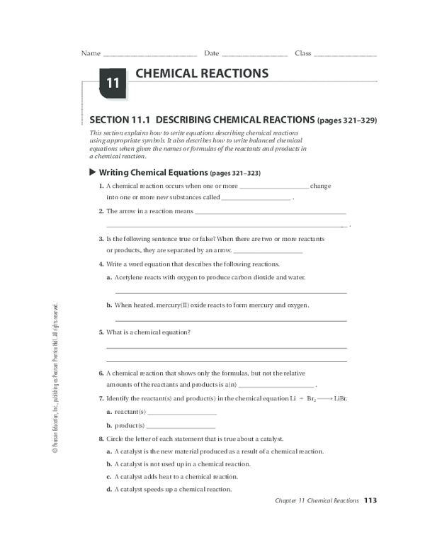 11 1 Describing Chemical Reactions Worksheet Answers ...