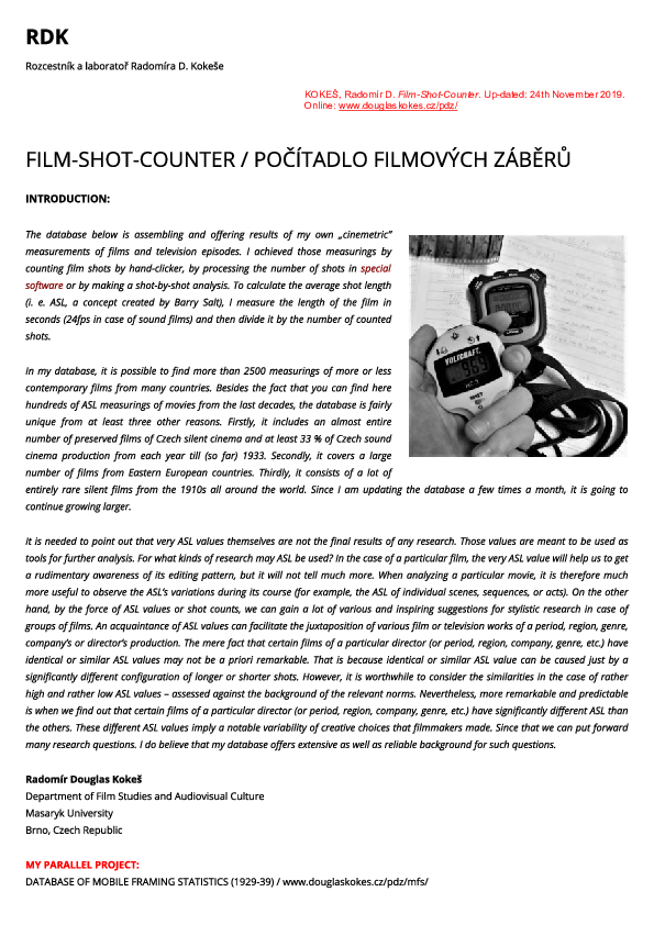 Pdf Film Shot Counter Film Database Of Shot Counts And