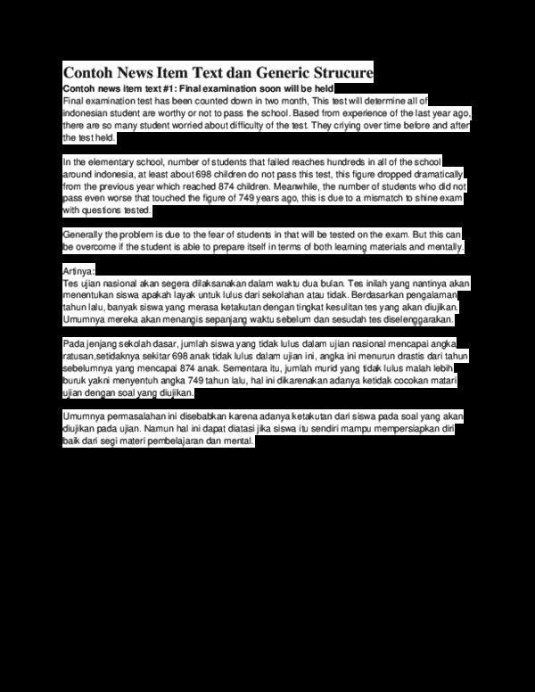 Doc Contoh News Item Text Dan Generic Strucure Razaq Fadhliansyah Academia Edu