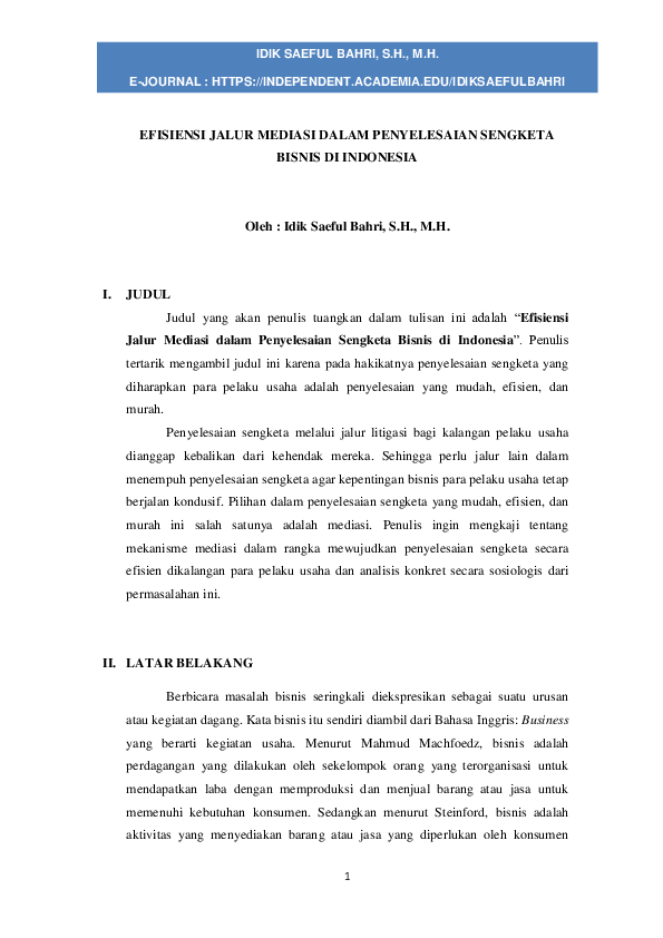 Mediasi Research Papers Academia Edu