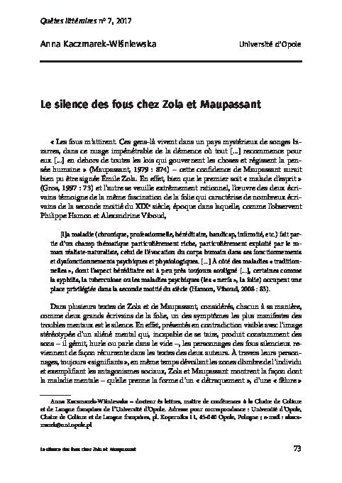 Madnes In Literature Research Paper Academia Edu Dissertation Sur Le Role De L Ecrivain