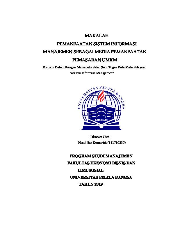 Makalah Sistem Informasi Manajemen Research Papers Academia Edu