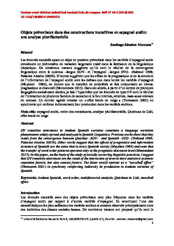 Pdf Objets Preverbaux Dans Des Constructions Transitives En Espagnol Andin Une Analyse Plurifactorielle Santiago Sanchez Moreano Academia Edu