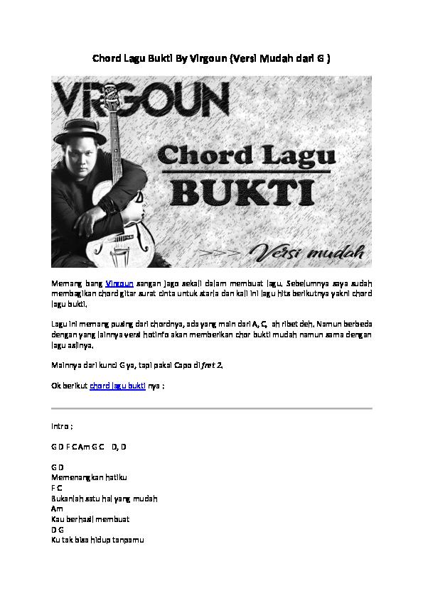 Doc Chord Lagu Bukti By Virgoun Versi Mudah Dari G Misellia Ikwan Academia Edu