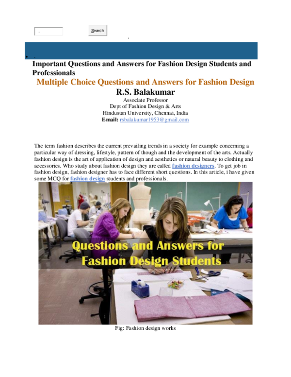 Doc Important Questions And Answers For Fashion Design Students And Professionals Bala Kumar Academia Edu