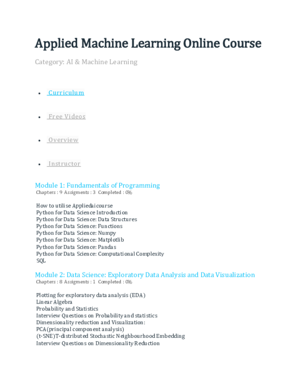 Doc Applied Machine Learning Online Course Dps Lab Academia Edu