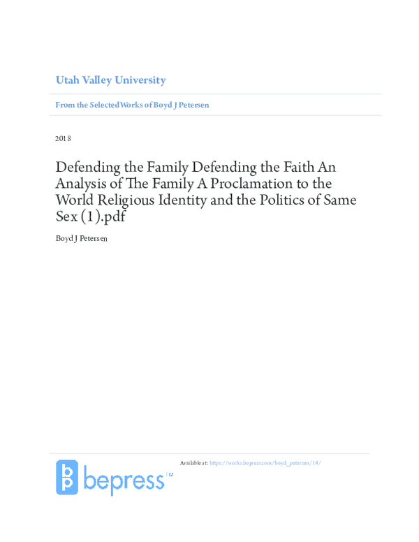 PDF) Defending the Family Defending the Faith An Analysis of The ...