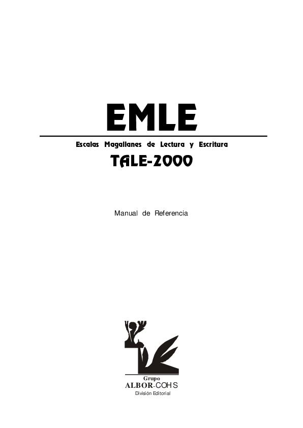 (PDF) EMLE Escalas Magallanes de Lectura y Escritura TALE