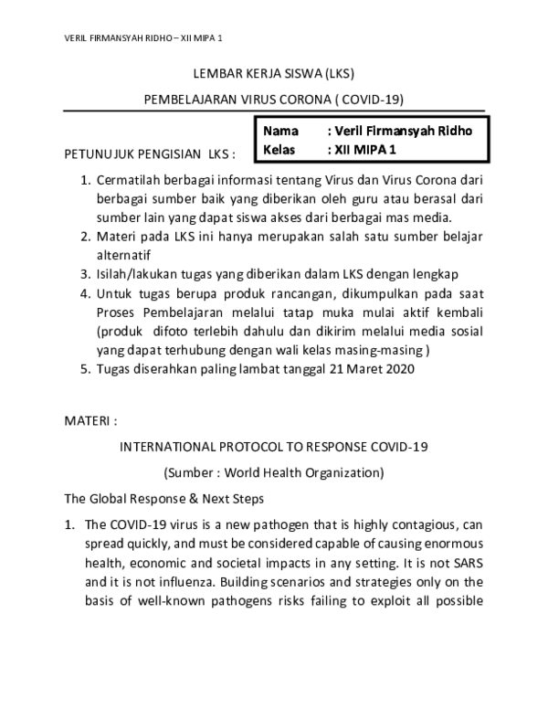 Pdf Jawaban Lembar Kerja Siswa Virus Corona Ok Biologi Veril Firmansyah Academia Edu