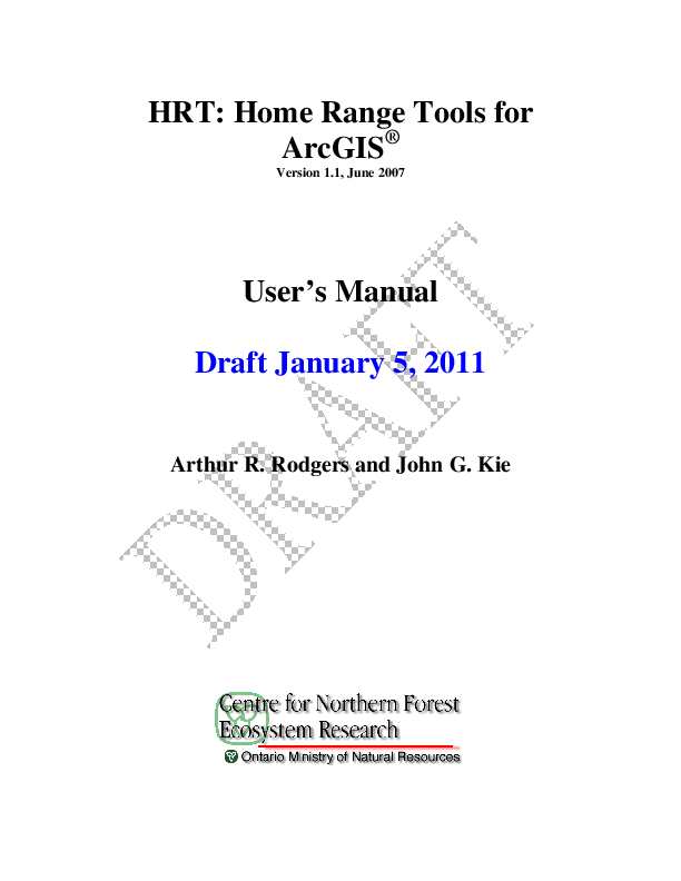 PDF) HRT: home range tools for ArcGIS | Mozahen Moaad