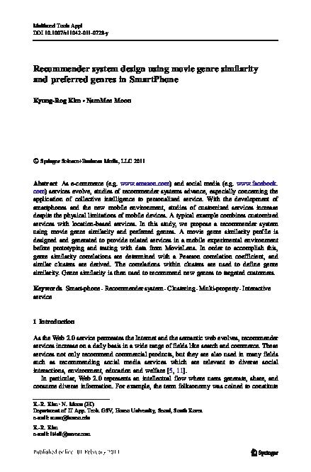 PDF) Recommender system design using movie genre similarity