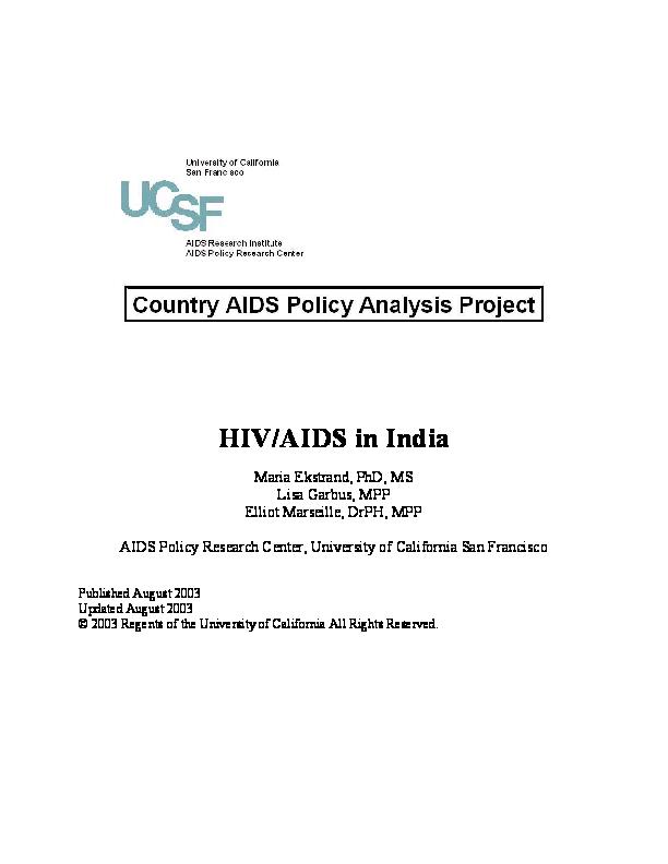 PDF) HIV/AIDS in India   Maria Ekstrand - Academia edu