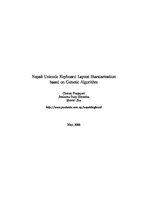 PDF) Nepali Unicode Keyboard Layout Standarization based on Genetic