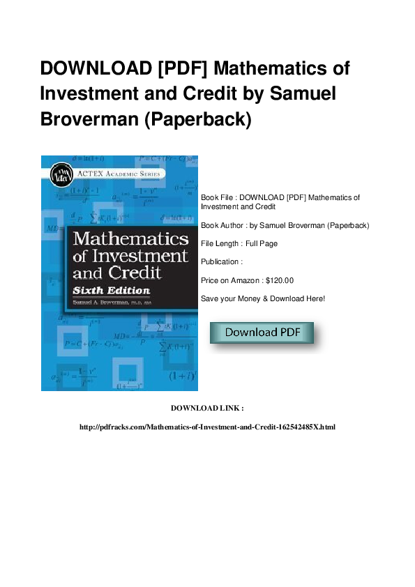 Broverman mathematics of investment and credit pdf file dubai hotel room investments