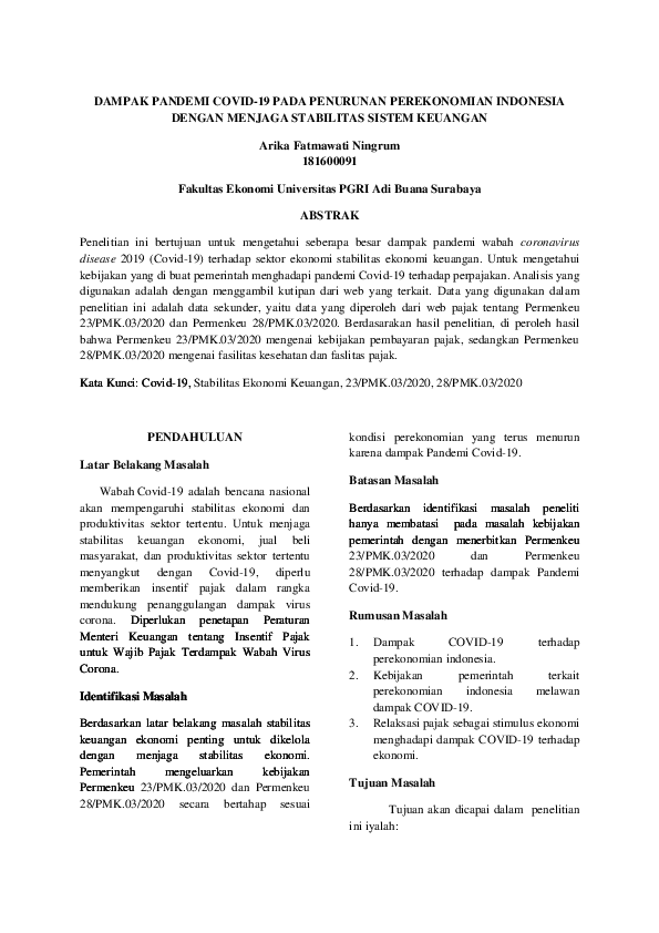 Contoh Karya Tulis Ilmiah Research Papers Academia Edu