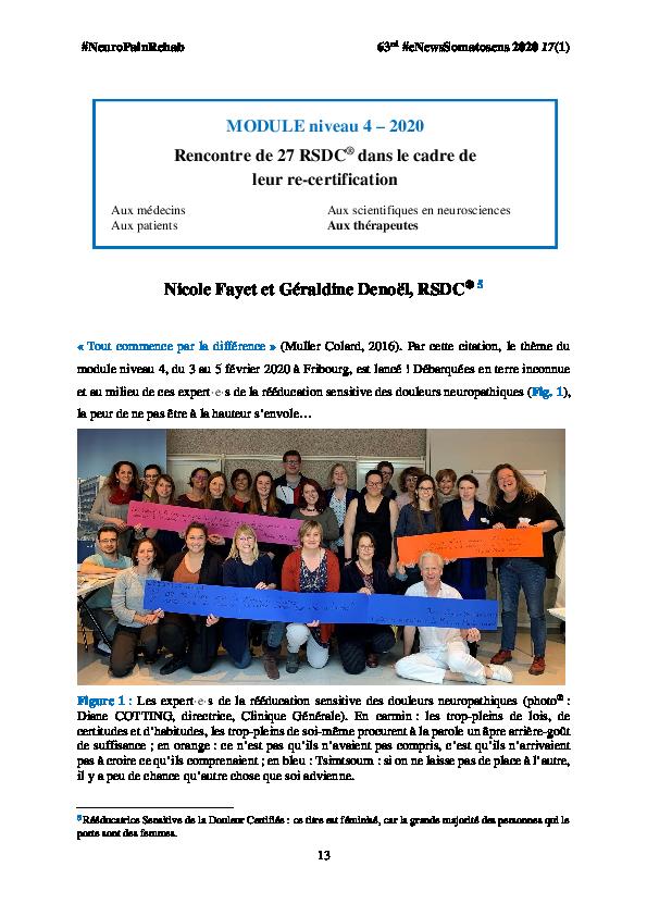 (PDF) MODULE niveau 4 - 2020 Rencontre de 27 RSDC® dans le