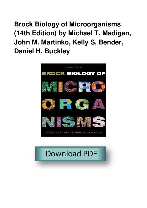 brock biology of microorganisms 14th edition free pdf