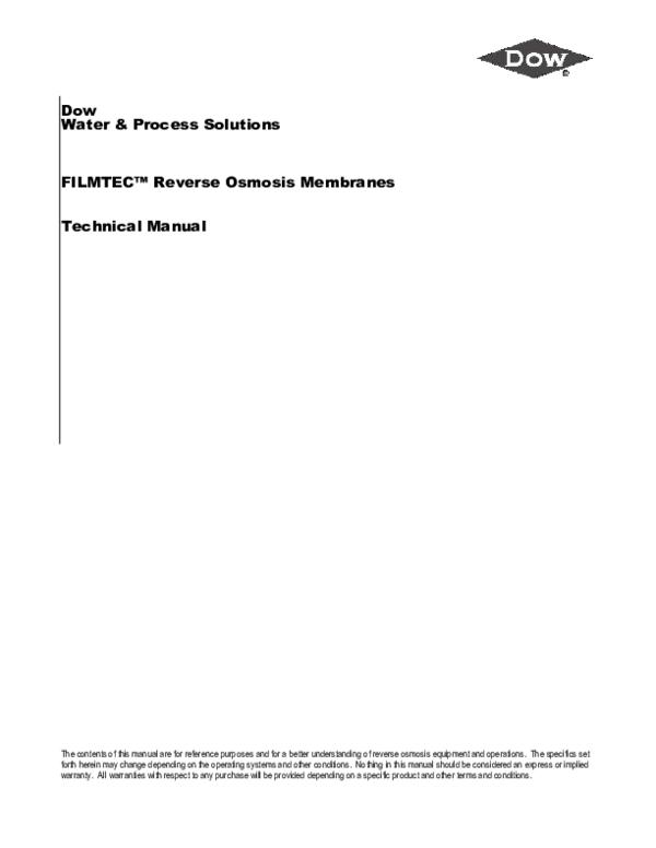 (PDF) Dow Water & Process Solutions FILMTEC™ Reverse