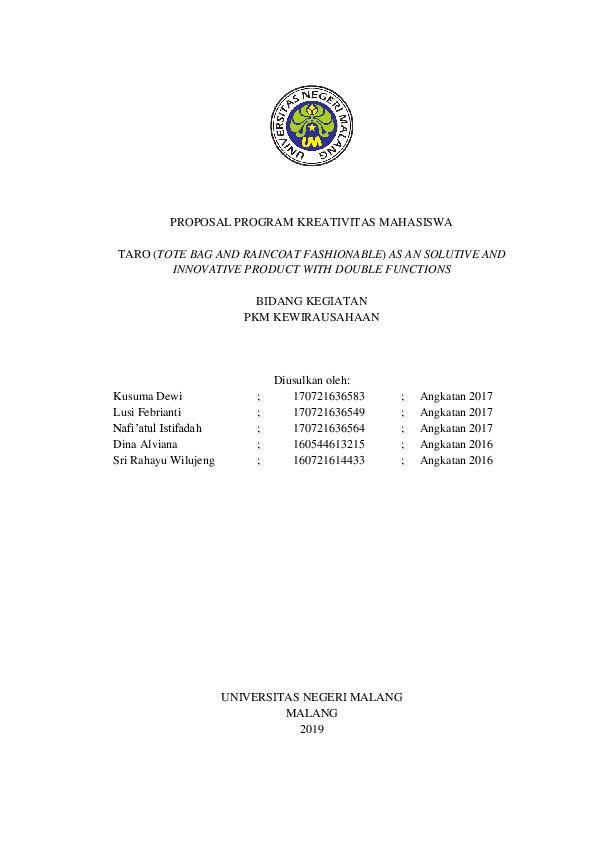 Contoh Proposal Pkm Kewirausahaan Research Papers Academia Edu