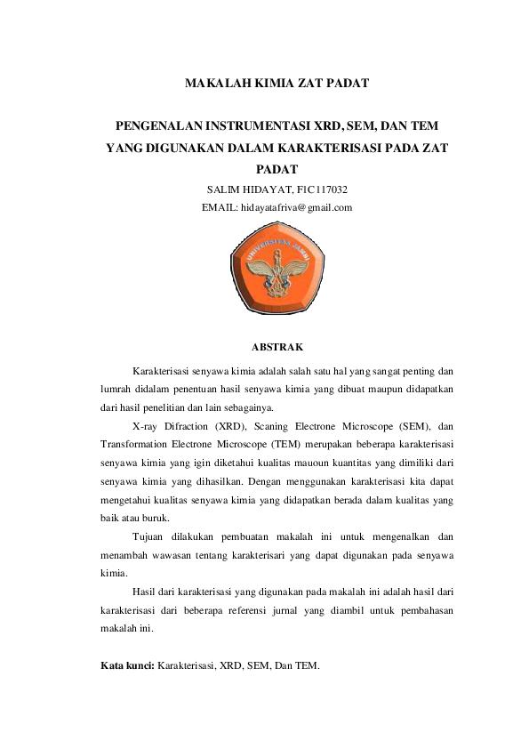Pdf Makalah Kimia Zat Padat Pengenalan Instrumentasi Xrd Sem Dan Tem Alim Alim Academia Edu