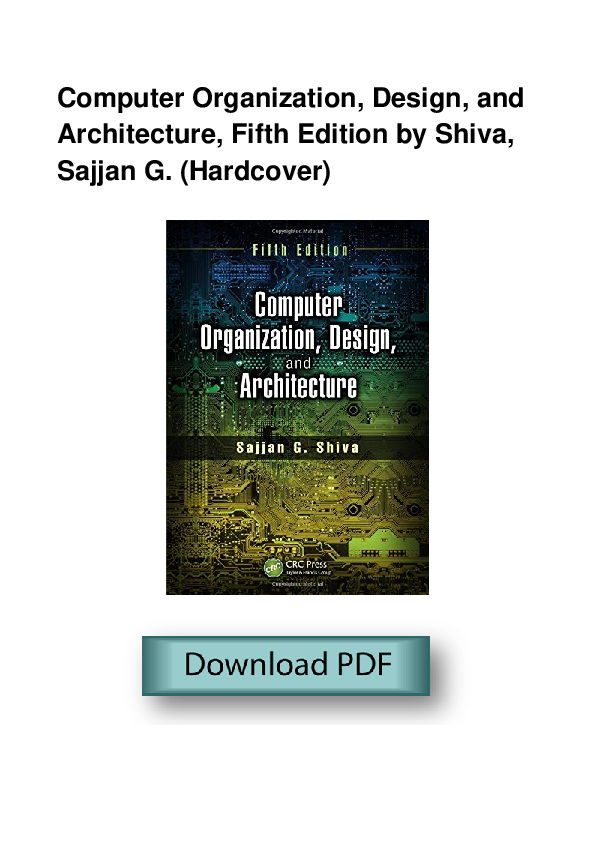Pdf Computer Organization Design And Architecture Fifth Edition By Shiva Sajjan G Hardcover Brenda Stephens Academia Edu