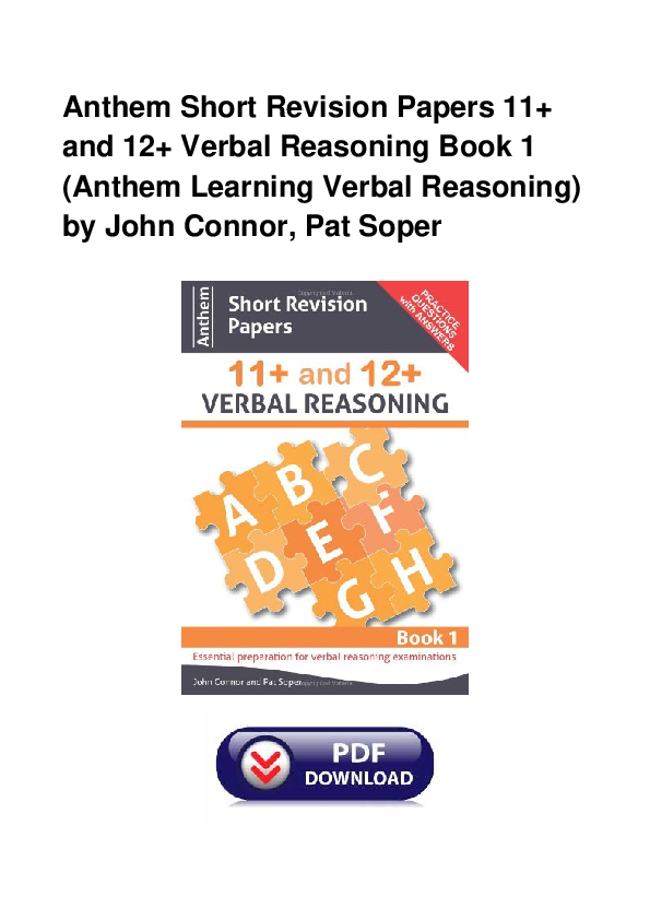 Pdf Anthem Short Revision Papers 11 And 12 Verbal Reasoning