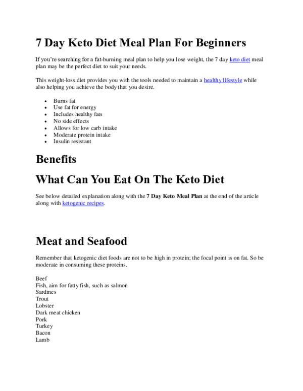 Pdf 7 Day Keto Diet Meal Plan For Beginners Chloe Madison Academia Edu