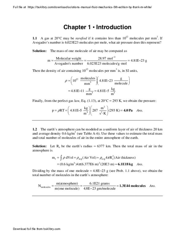 Pdf Solutions Manual Fluid Mechanics 5th Edition By Frank M White Matthew Pascual Academia Edu