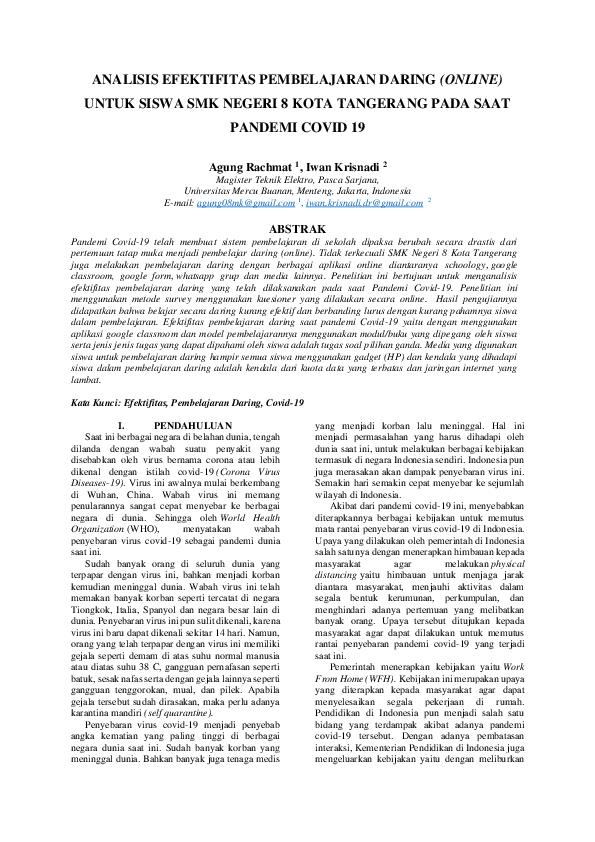 Pdf Analisis Efektifitas Pembelajaran Daring Online Untuk Siswa Smk Negeri 8 Kota Tangerang Pada Saat Pandemi Covid 19 Iwan Krisnadi And Agung Rachmat Academia Edu