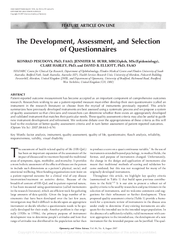 PDF) The development, assessment, and selection of questionnaires