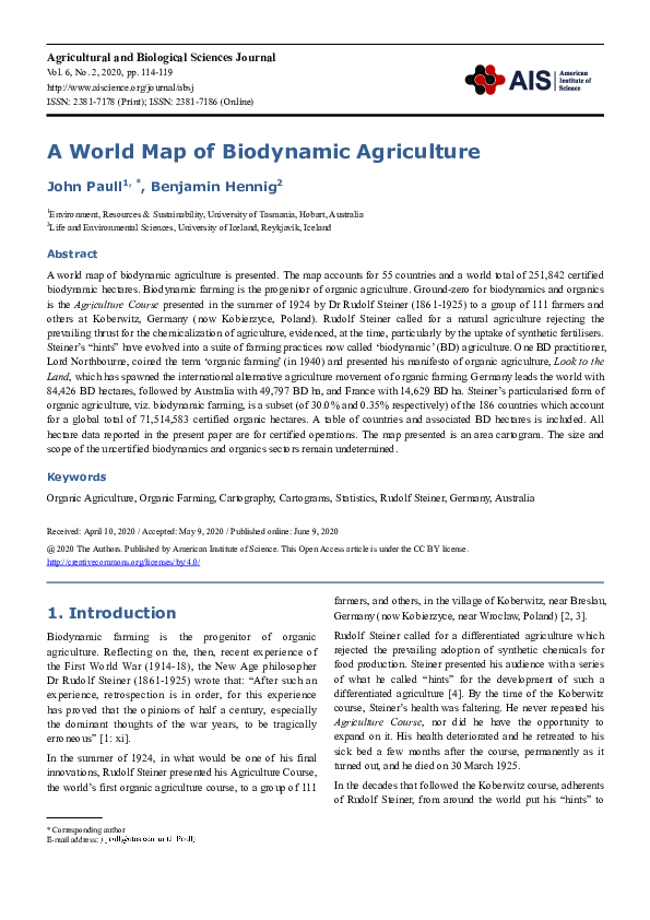 Pdf A World Map Of Biodynamic Agriculture John Paull Phd Academia Edu