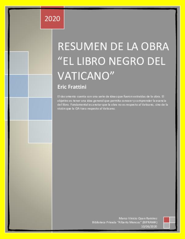 Pdf Resumen De La Obra El Libro Negro Del Vaticano Marco Vinicio Quan Ramírez Academia Edu