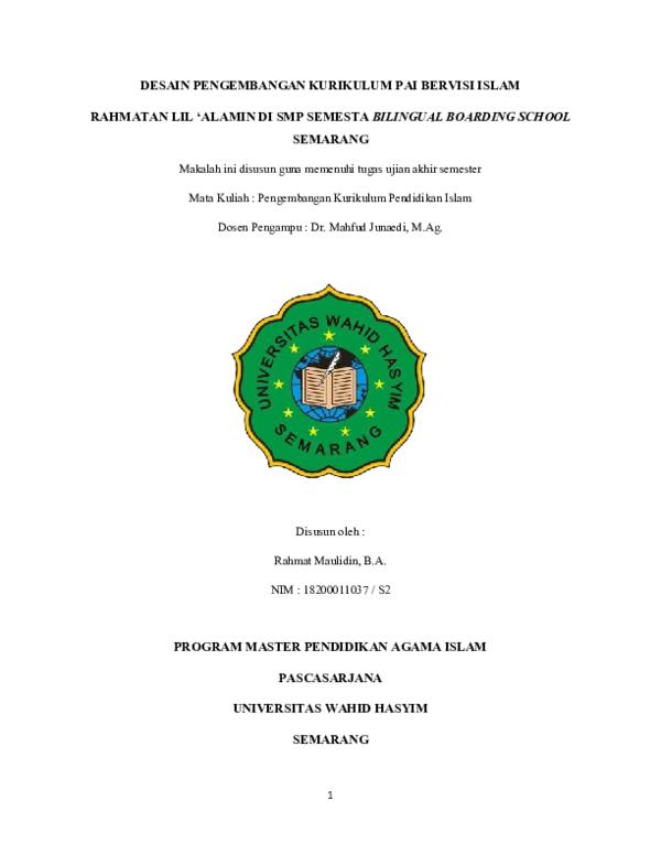 Doc Uas Pengembangan Kurikulum Islam Rahmat Maulidin Academia Edu