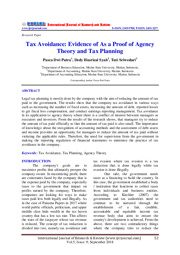 Pdf Tax Avoidance Evidence Of As A Proof Of Agency Theory And Tax Planning International Journal Of Research Review Ijrr Academia Edu