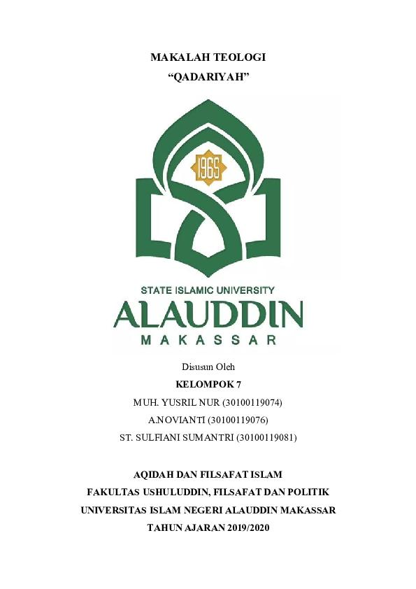 Doc Makalah Qadariyah Muhammad Yusril Nur Academia Edu