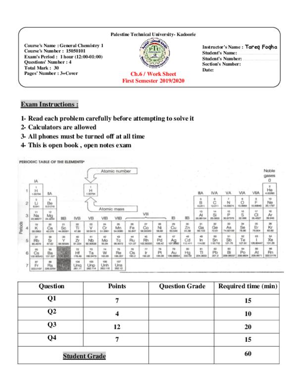 (PDF) Chapter 6 Worksheet / Thermochemistry | Tareq Foqha ...