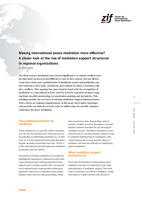 Pdf Making International Peace Mediation More Effective A Closer Look At The Rise Of Mediation Support Structures In Regional Organizations Katrin Wittig Academia Edu