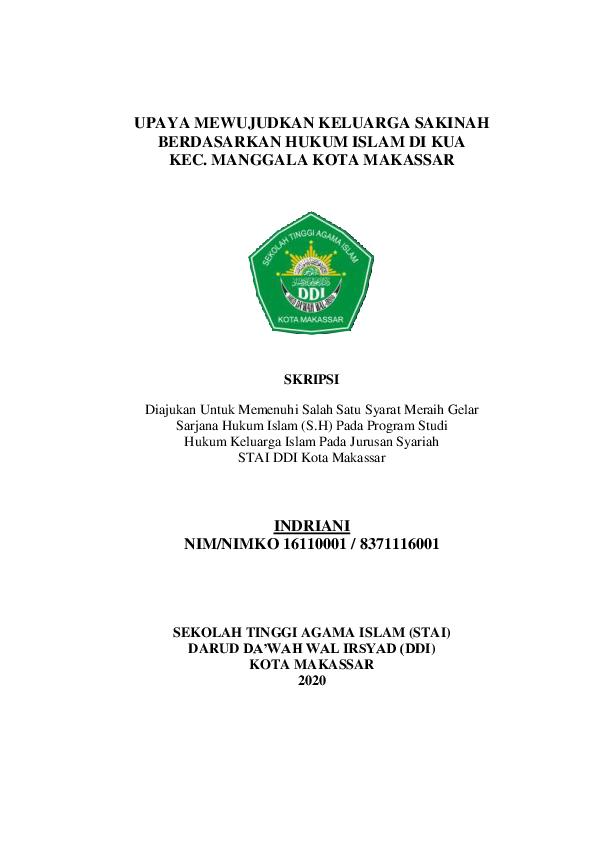 Pdf Upaya Mewujudkan Keluarga Sakinah Berdasarkan Hukum Islam Di Kua Kec Manggala Kota Makassar Indriani Idris And Muhammad Arsyam Academia Edu