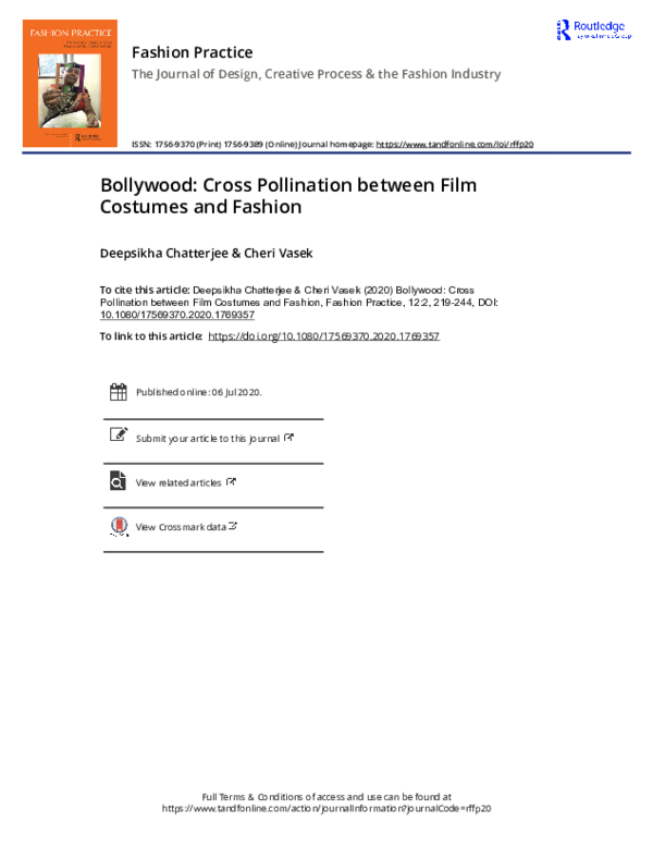 Pdf Fashion Practice The Journal Of Design Creative Process The Fashion Industry Bollywood Cross Pollination Between Film Costumes And Fashion Deepsikha Chatterjee Academia Edu