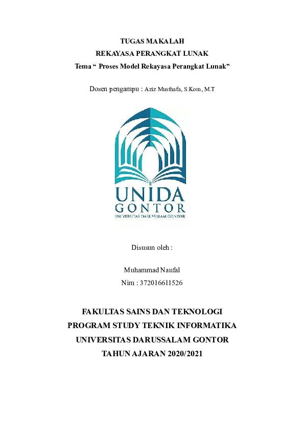 Doc Makalah Rekayasa Perangkat Lunak Tema Proses Model Rekayasa Perangkat Lunak Muhammad Naufal Academia Edu
