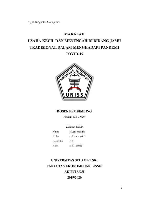 Pdf Proposal Umkm Di Bidang Jamu Tradisional Dalam Menghadapi Covid 19 Aqilla Rahmah Academia Edu