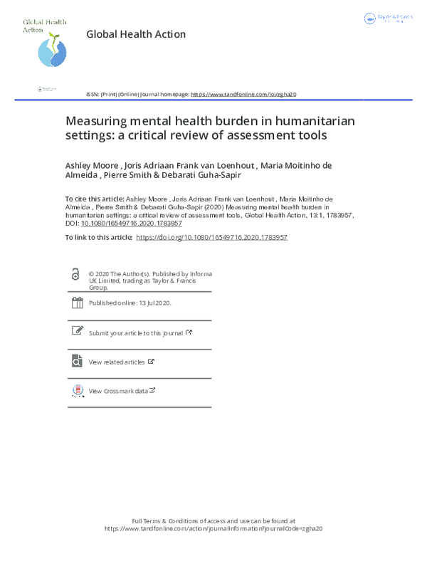 Pdf Measuring Mental Health Burden In Humanitarian Settings A Critical Review Of Assessment Tools Measuring Mental Health Burden In Humanitarian Settings A Critical Review Of Assessment Tools Ashley Moore And Maria
