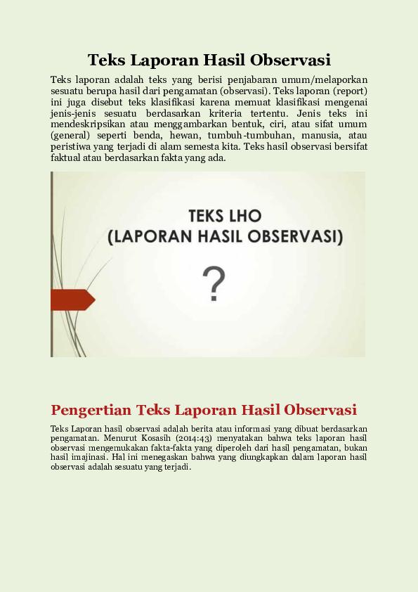 Contoh Teks Laporan Observasi Research Papers Academia Edu